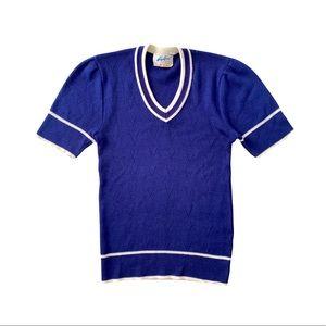 VTG 70s Knit Cropped V-Neck Sweater Short Sleeve S